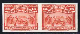 Newfoundland 1897 400th Anniversary Grey Seals 15c scarlet IMPERF plate proof pair on thin card ex ABNCo archives (as SG 75)