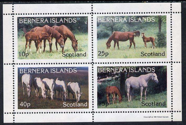 Bernera 1981 Horses perf  set of 4 values (10p to 75p) unmounted mint