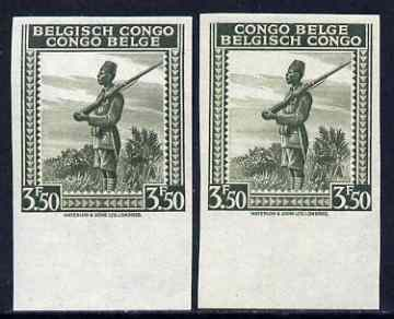 Belgian Congo 1942 Askari Sentry 3f50 olive two imperf marginal singles with bi-lingual inscription reversed, mounted mint