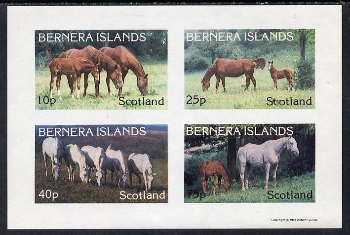 Bernera 1981 Horses imperf  set of 4 values (10p to 75p) unmounted mint