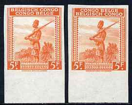 Belgian Congo 1942 Askari Sentry 4f orange two imperf marginal singles with bi-lingual inscription reversed, mounted mint