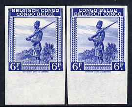 Belgian Congo 1942 Askari Sentry 6f blue two imperf marginal singles with bi-lingual inscription reversed, mounted mint
