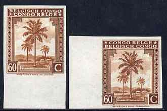 Belgian Congo 1942 Oil Palms 60c brown two imperf marginal singles with bi-lingual inscription reversed, mounted mint