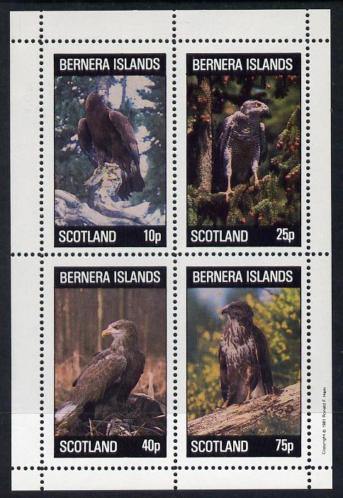 Bernera 1981 Birds of Prey perf  set of 4 values (10p to 75p) unmounted mint