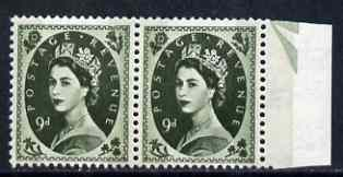 Great Britain 1960-67 Wilding 9d Crowns phos horiz marginal pair, one stamp with Frame break at top (R11/11) unmounted mint SG spec S128c