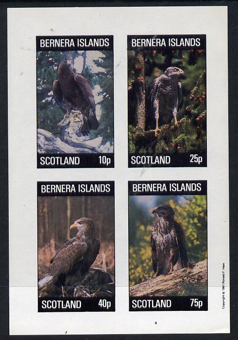 Bernera 1981 Birds of Prey imperf  set of 4 values (10p to 75p) unmounted mint