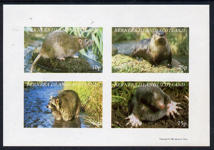 Bernera 1981 Animals (Otter, Rat, Mole) imperf  set of 4 values (10p to 75p) unmounted mint