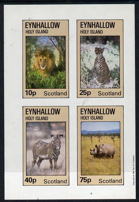 Eynhallow 1981 Animals #01 (Lion, Rhino, Zebra) imperf  set of 4 values (10p to 75p) unmounted mint