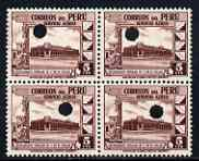 Peru 1938 Pictorial 5c (People's Restaurant) perforated proof  block of 4 in near issued colour, eash stamp with Waterlow's security puncture