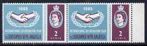 St Kitts-Nevis 1965 Int Co-operation Year 2c unmounted mint pair, one stamp with 'Broken Leaves' variety