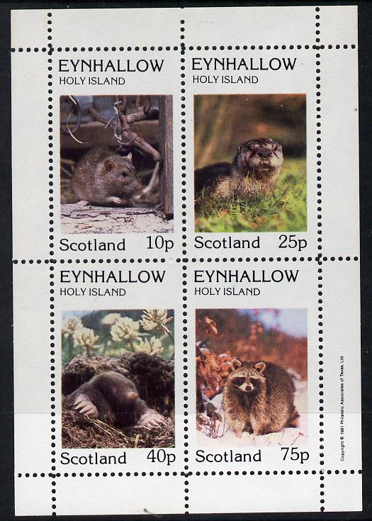 Eynhallow 1981 Animals #02 (Rat, Otter, Mole) perf  set of 4 values (10p to 75p) unmounted mint