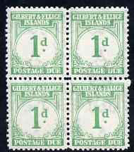 Gilbert & Ellice Islands 1940 KG6 Postage Due 1d emerald unmounted mint block of 4, SG D1 cat \A352