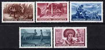 Liechtenstein 1941 Agricultural Propaganda set of 5 lightly mounted mint SG 195-99