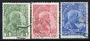 Liechtenstein 1912-15 Prince John set of 3 fine used, SG2-4 cat \A332