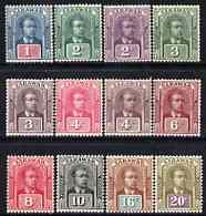 Sarawak 1918-23 Brooke no wmk 12 vals to 20c fine mounted mint, between SG 50-69 cat \A336