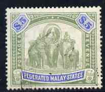 Malaya - Federated Malay States 1904 MCA $5 green & blue well centred very light cancel SG50 cat \A3130