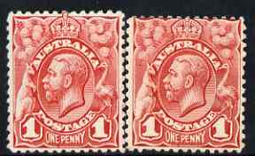 Australia 1913-14 KG5 Head 1d red mounted mint single with vert dash under E of One, SG17var