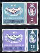 St Kitts-Nevis 1965 Int Co-operation Year 2c & 25c unmounted mint singles each with Broken Leaves variety