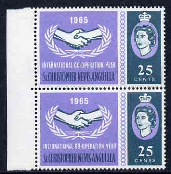 St Kitts-Nevis 1965 Int Co-operation Year 25c unmounted mint pair, one stamp with 'Broken Y in Year' variety