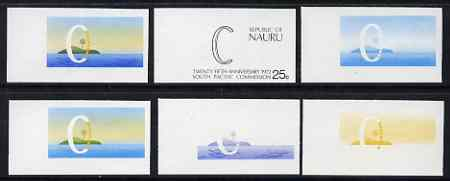 Nauru 1972 South Pacific Commission 25th Anniversary x 6 imperf progressive proofs comprising various individual or combination composites, scarce with only 100 sets having been produced (as SG97)