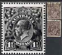 Australia 1918-23 KG5 1.5d black-brown two used singles (single & multiple wmks) each showing white flaw on frame between ST of Postage (position 34 left pane electro II)...