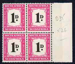 South Africa 1948-49 Postage Due 1d marginal block of 4 unmounted mint, SG D35