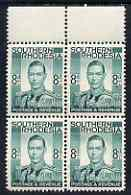 Southern Rhodesia 1937 KG6 def 8d emerald unmounted mint marginal block of 4, SG45