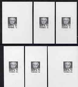 Tonga 1987 20th Anniversary of Coronation set of 6 B&W photographic proofs, rare thus, as SG 972-76