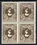 Egypt 1927-56 Postage Due 4m sepia unmounted mint block of 4 SG D176
