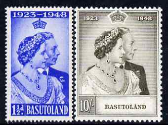 Basutoland 1948 KG6 Royal Silver Wedding perf set of 2 mounted mint, SG 36-37