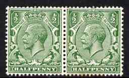 Great Britain 1912-24 KG5 Royal Cypher 1/2d horiz pair with G missing from watermark on one stamp, mounted mint with small rust mark, SG N14zb