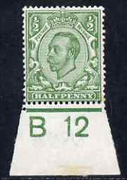 Great Britain 1911-12 KG5 Downey Head 1/2d pale green shade mtd mint marginal with B12 control, tone spot on one perf, SG N5(2)
