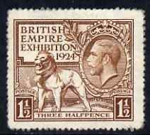 Great Britain 1924 KG5 Wembley Exhibition 1.5d brown mounted mint, SG431
