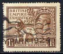 Great Britain 1924 KG5 Wembley Exhibition 1.5d brown fine used with Wembly postmark, SG431