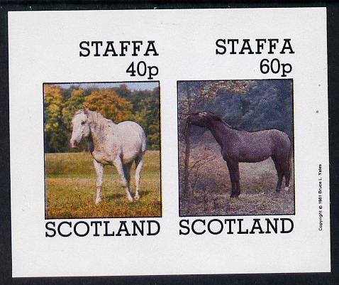 Staffa 1981 Horses #2 imperf  set of 2 values unmounted mint