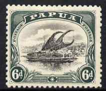 Papua 1910 Lakatoi 6d black & myrtle-green with watermark inverted, mounted mint, SG 53w