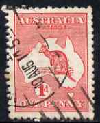 Australia 1913-14 Roo 1d red good used with break in shading to right of E of Postage (Constant flaw), SG 2var