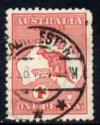 Australia 1913-14 Roo 1d red good used with large flaw in Bight (constant Die II column 1), ragged perfs, SG 2var