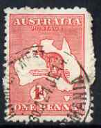 Australia 1913-14 Roo 1d red good used with dented frame top left (constant Die II), SG 2var