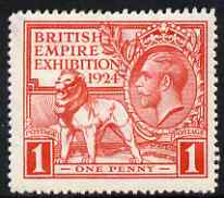 Great Britain 1924 KG5 Wembley Exhibition 1d red mounted mint, SG430