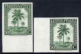 Belgian Congo 1942 Oil Palms 50c green two imperf marginal singles with bi-lingual inscription reversed, mounted mint