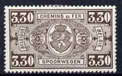 Belgium 1923 Railway Parcels 3f30 brown fine mounted mint, SG P397
