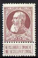 Belgium 1905 Leopold 35c brown-purple mounted mint with tab, SG 102