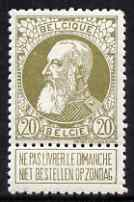 Belgium 1905 Leopold 20c olive-green very fine mounted mint with tab, SG 100