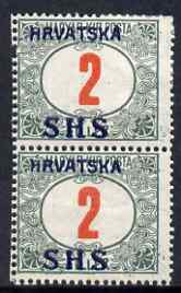 Yugoslavia - Croatia 1918 Postage Due 2f with Hrvatska SHS opt mounted mint SG D86