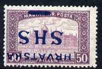 Yugoslavia - Croatia 1918 Parliament 50f with Hrvatska SHS opt inverted mounted mint SG 66var