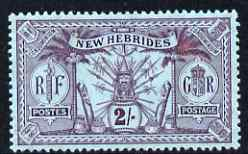 New Hebrides - English 1911 2s purple on blue fine mounted mint, SG27