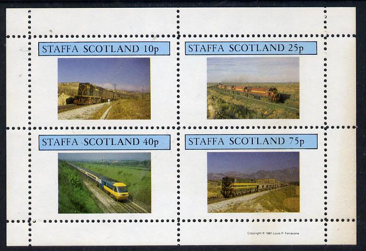 Staffa 1981 Modern Locos perf  set of 4 values unmounted mint