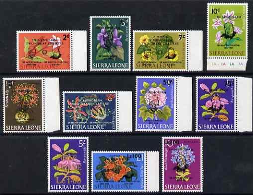 Sierra Leone 1965 Churchill & Sir Milton Margai Commem set of 11 values complete unmounted mint, SG 366-76