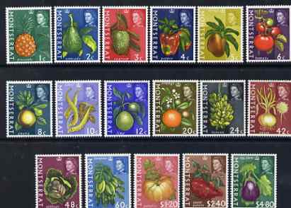 Montserrat 1965 Fruit & Plants definitive set of 17 values complete unmounted mint, SG 160-65